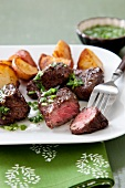 Grilled Sirloin Steak Tips with Roasted Potatoes