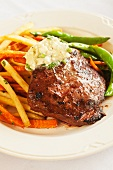 Flat Iron Steak with Fried and Mixed Vegetables