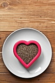 Chia Seeds in a Heart Shaped Bowl
