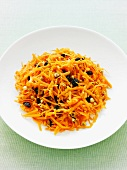 Bowl of grated carrot salad