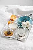 Breakfast tray on bed