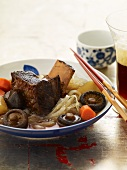 Korean Style Short Ribs with Noodles and Chopsticks