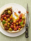 Multi-Colored Tomato Tart with a Slice Removed; From Above