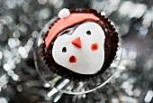 A chocolate penguin cupcake