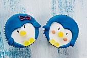 Winterliche Cupcakes mit Gesicht