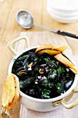 Mussels with white wine, parsley and onions on toasted bread