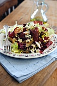 Gorgonzola and Bresaola salad on bruschetta