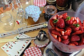 Ingredients for strawberry jam