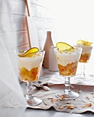 Glasses of mango coconut trifle
