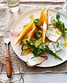 Plate of melon blue cheese salad