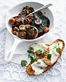 Fried mushrooms with cheese and bread