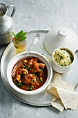 Bowl of fish tagine with couscous