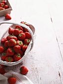 Basket of strawberries on table