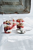 Glasses of fruit and granola parfait