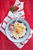 Bowl of Rice Pudding with Strawberries
