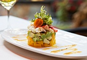 Individual Layered Crab and Avocado Salad