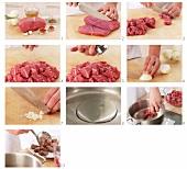 Rindfleisch für Gulasch in Würfel schneiden und anbraten