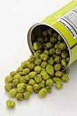 A tin of wasabi peas