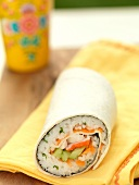 Sushi Wrap on a Yellow Napkin