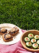 Cucumber and Hummus Appetizer and Peanut Butter and Jelly Bars; On a Blanket in the Grass