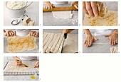 Bread sticks being made