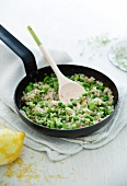 Pea and bean risotto with lemon