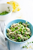 Pea and bean risotto with lemon and thyme