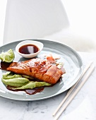 Plate of salmon and wasabi sauce