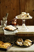 Dishes of pastries and cookies