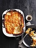 Dish of ham and potato casserole