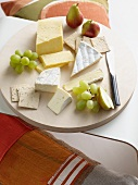 Platter of cheese and fruit