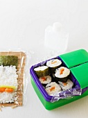 Maki sushi in lunchbox