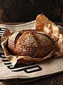 Fresh baked bread in paper