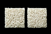 Rice Squares on a Black Background