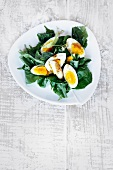 Birch leaf salad with limes and hard-boiled eggs