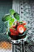 Strawberry with peppermint and vodka