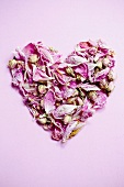 A heart made of dried rose petals