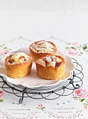Friands with peaches and white chocolate