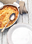 Potato gratin on a rustic table