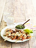 Prawn kebabs with pesto