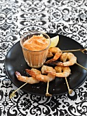 Prawn kebabs with pepper aioli