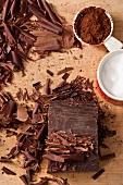 Chocolate shavings, cocoa and sugar