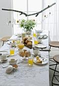 Festively set table for Easter