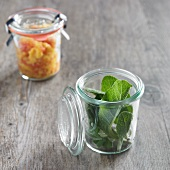 Organic Sage in a Jar; Jar of Organic Homemade Mango Salsa