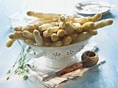 White asparagus in a sieve