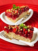 Two slices of cranberry and pear cake