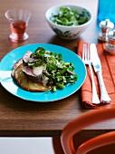 Veal fillet with potato pancakes and a tuna fish sauce