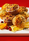 Cranberry and orange muffins and lemon and poppy seed muffins