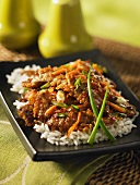Stir-fried beef with ginger on a bed of rice