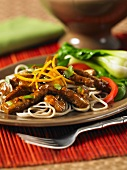 Stir-fried beef with orange and ginger sauce with oriental noodles